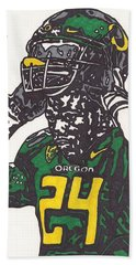Bath Towel featuring the drawing Kenjon Barner 1 by Jeremiah Colley