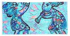 2 Kokopellis In Turquoise Hand Towel