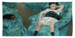 Little Girl In A Blue Armchair Hand Towel