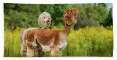 Bath Towel featuring the photograph 2 Little Llamas by Mary Timman