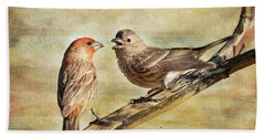 2 Little Love Birds Bath Towel by Barbara Manis