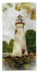 Marble Head Lighthouse Hand Towel