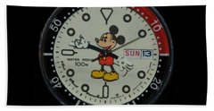 Mickey Mouse Watch Face Hand Towel by Rob Hans
