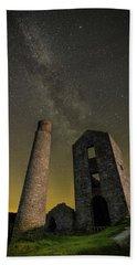 Milky Way Over Old Mine Buildings. Bath Towel