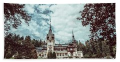 Neo-renaissance Peles Castle Built In 1873 In Carpathian Mountains Hand Towel by Radu Bercan