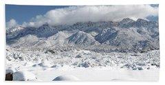 Bath Towel featuring the photograph New Mexico Sandia Mountains Desert Snow Landscape by Andrea Hazel Ihlefeld