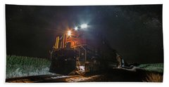 Hand Towel featuring the photograph Night Train  by Aaron J Groen
