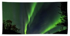 Northern Lights, Aurora Borealis At Kantishna Lodge In Denali National Park Hand Towel
