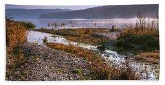 Bath Towel featuring the photograph One Autumn Day At Ognyanovo Dam by Jivko Nakev
