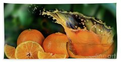 Orange Splash Hand Towel by Shirley Mangini