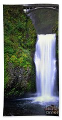 Bath Towel featuring the photograph Oregon Multnomah Falls Bridge Landscape by Andrea Hazel Ihlefeld