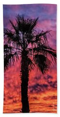 Palm Tree Silhouette Bath Towel by Robert Bales
