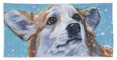 Hand Towel featuring the painting Pembroke Welsh Corgi by Lee Ann Shepard