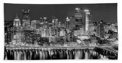 Pittsburgh Pennsylvania Skyline At Night Panorama Bath Towel