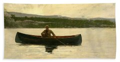 Bath Towel featuring the painting Playing A Fish by Winslow Homer