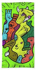 Psychedelic Animals Bath Towel