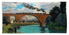 Railroad Bridge Over The Marne At Joinville Bath Towel