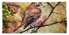 Red Backed Shrike Bath Towel