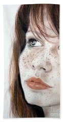 Red Hair And Freckled Beauty Hand Towel