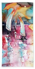 Sailboats Hand Towel by Kovacs Anna Brigitta