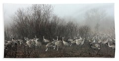 Sandhill Cranes And The Fog Hand Towel
