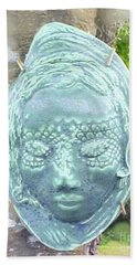 Hand Towel featuring the ceramic art Sarah by Sandy McIntire