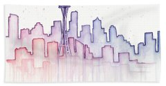 Seattle Skyline Watercolor Hand Towel by Olga Shvartsur