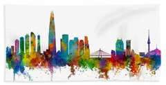 Hand Towel featuring the photograph Seoul Skyline South Korea by Michael Tompsett