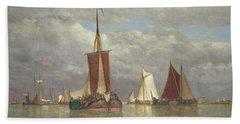 Ships Lying Near Dordrecht Hand Towel