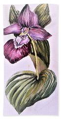Hand Towel featuring the painting Slipper Foot Orchid by Mindy Newman