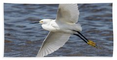 Snowy Egret Flying Hand Towel