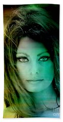 Sophia Loren Bath Towel by Marvin Blaine