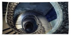 Bath Towel featuring the photograph Spiral Staircase With Ornamented Handrail by Jaroslaw Blaminsky