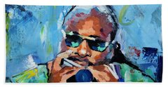 Bath Towel featuring the painting Stevie Wonder by Richard Day