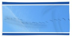 String Of Birds In Blue Hand Towel
