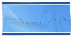 String Of Birds In Blue Bath Towel