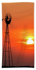 Hand Towel featuring the photograph Sunrise And Windmill 02 by Rob Graham