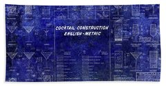 The Cocktail Construction Blueprint Hand Towel by Jon Neidert