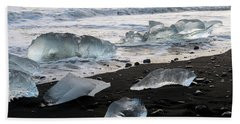 The Diamond Beach, Jokulsarlon, Iceland Hand Towel