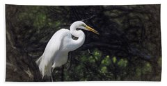 The Great White Egret Hand Towel by Scott Cameron