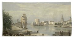 The Harbor Of La Rochelle Hand Towel by Jean Baptiste Camille Corot