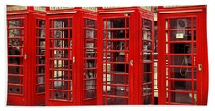 Red Telephone Box  Bath Towel