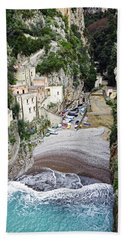 This Is A View Of Furore A Small Village Located On The Amalfi Coast In Italy  Hand Towel