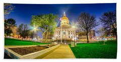 Topeka Kansas Downtown At Night Hand Towel