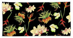 Tropical Island Floral Half Drop Pattern Bath Towel
