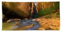 Virgin River - Zion National Park Watercolor Hand Towel