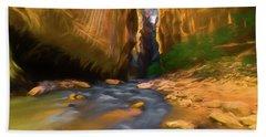Virgin River - Zion National Park Watercolor Bath Towel