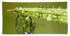 Water Drops On The Grass Bath Towel