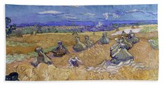 Wheat Fields With Reaper, Auvers Hand Towel