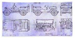 Willys Jeep Blueprint Hand Towel